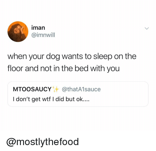 Wtf, Dank Memes, and Sleep: iman  @imnwill  when your dog wants to sleep on the  floor and not in the bed with you  MTOOSAUCY@thatA1sauce  I don't get wtf I did but ok.... @mostlythefood