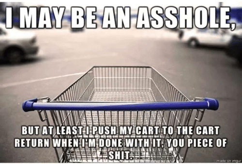 push: IMAY BEANASSHOLE  BUT AT LEASTI PUSH MY CARTTO THE CART  RETURN WHENHM DONE WITHIT, YOU PIECE OF  made on imgur