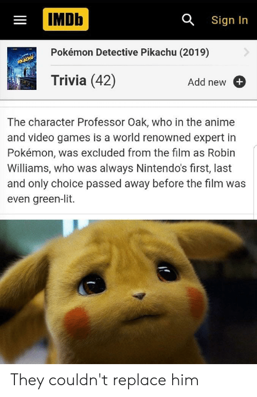 Lit, Pikachu, and Pokemon: IMDb  a Sign In  Pokémon Detective Pikachu (2019)  Trivia (42)  Add new  The character Professor Oak, who in the an  and video games is a world renowned expert in  Pokémon, was excluded from the film  Williams, who was always Nintendo's first, last  and only choice passed away before the film was  even green-lit. They couldn't replace him