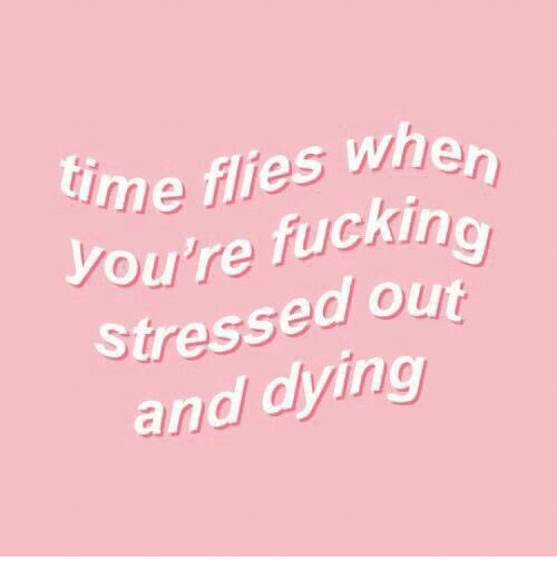 Dying, Stressed, and Fuckin: ime flies whe  Ou're fuckin  Stressed ou  and dying