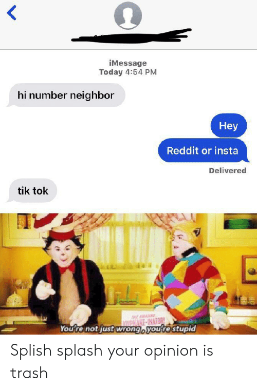 Reddit, Trash, and Today: iMessage  Today 4:54 PM  hi number neighbor  Неy  Reddit or insta  Delivered  tik tok  HEAWAU  KIUPKAKE-INATOR!  Youtre not just wrong, youtestupid Splish splash your opinion is trash