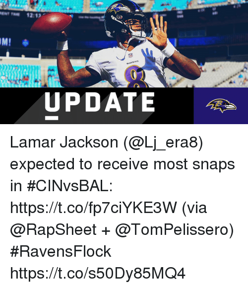 rav: IML  RAV  VENS  UPDATE Lamar Jackson (@Lj_era8) expected to receive most snaps in #CINvsBAL: https://t.co/fp7ciYKE3W (via @RapSheet + @TomPelissero) #RavensFlock https://t.co/s50Dy85MQ4