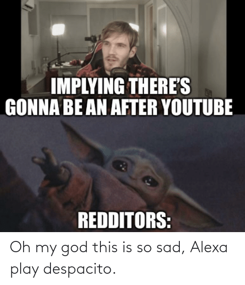 This Is So Sad Alexa Play Despacito: IMPLYING THERE'S  GONNA BE AN AFTER YOUTUBE  REDDITORS: Oh my god this is so sad, Alexa play despacito.