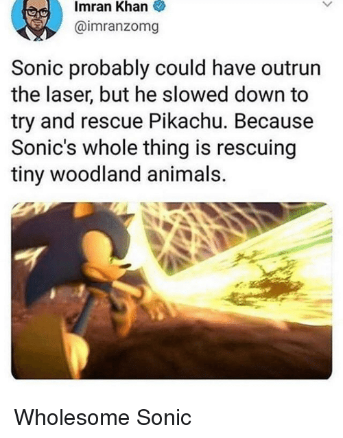 Outrun: Imran  Khan  @imranzomg  Sonic probably could have outrun  the laser, but he slowed down to  try and rescue Pikachu. Because  Sonic's whole thing is rescuing  tiny woodland animals. Wholesome Sonic