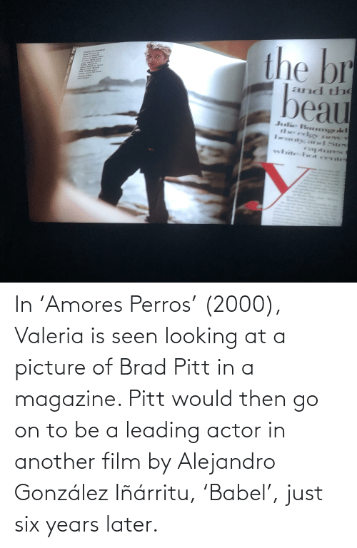 Brad: In 'Amores Perros' (2000), Valeria is seen looking at a picture of Brad Pitt in a magazine. Pitt would then go on to be a leading actor in another film by Alejandro González Iñárritu, 'Babel', just six years later.