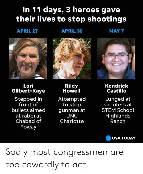 School, Shooters, and Charlotte: In 11 days, 3 heroes gave  their lives to stop shootings  APRIL 27  APRIL 30  MAY 7  Riley  Howell  Lori  Gilbert-Kaye  Kendrick  Castillo  Stepped in  front of  bullets aimed  at rabbi at  Chabad of  Poway  Lunged at  shooters at  STEM School  Highlands  Ranch  Attempted  to stop  gunman at  UNC  Charlotte  USA TODAy Sadly most congressmen are too cowardly to act.