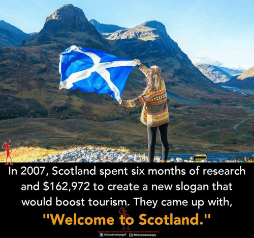 """create a new: In 2007, Scotland spent six months of research  and $162,972 to create a new slogan that  would boost tourism. They came up with,  """"Welcome to Scotland."""""""