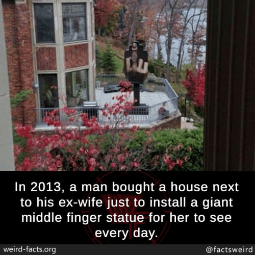 Facts, Memes, and Weird: In 2013, a man bought a house next  to his ex-wife just to install a giant  middle finger statue for her to see  every day  weird-facts.org  @factsweird