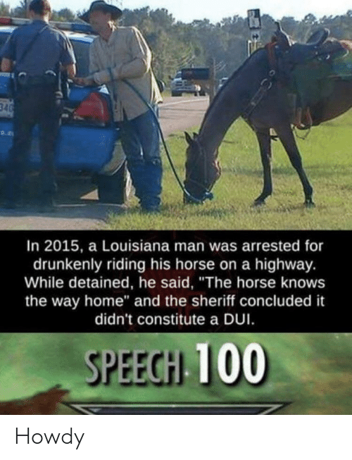 "Home, Horse, and Louisiana: In 2015, a Louisiana man was arrested for  drunkenly riding his horse on a highway.  While detained, he said, ""The horse knows  the way home"" and the sheriff concluded it  didn't constitute a DUI  SPEECH 100 Howdy"