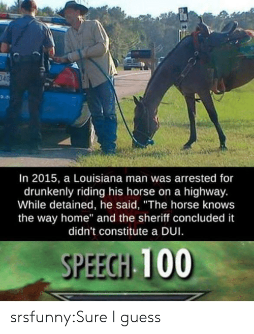 "Tumblr, Blog, and Guess: In 2015, a Louisiana man was arrested for  drunkenly riding his horse on a highway.  While detained, he said, ""The horse knows  the way home"" and the sheriff concluded it  didn't constitute a DUI  SPEEGH 100 srsfunny:Sure I guess"
