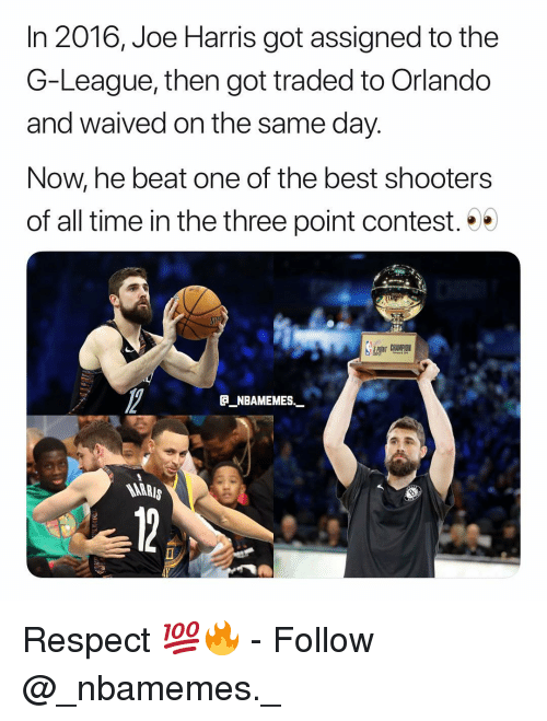 Memes, Respect, and Shooters: In 2016, Joe Harris got assigned to the  G-League, then got traded to Orlando  and waived on the same day.  Now, he beat one of the best shooters  of all time in the three point contest.  TCHAMPIO  _NBAMEMES  MARRI  AY Respect 💯🔥 - Follow @_nbamemes._