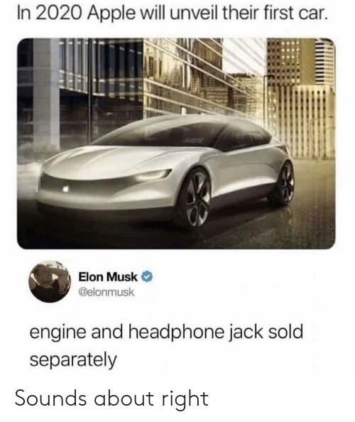 Sounds About Right: In 2020 Apple will unveil their first car.  Elon Musk  @elonmusk  engine and headphone jack sold  separately Sounds about right