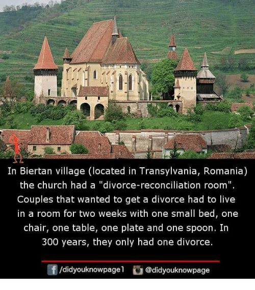 """Church, Memes, and Live: In Biertan village (located in Transylvania, Romania)  the church had a """"divorce-reconciliation room"""".  Couples that wanted to get a divorce had to live  in a room for two weeks with one small bed, one  chair, one table, one plate and one spoon. Irn  300 years, they only had one divorce.  /didyouknowpagel @didyouknowpage"""