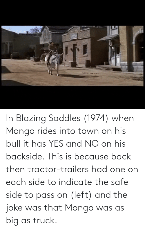blazing saddles: In Blazing Saddles (1974) when Mongo rides into town on his bull it has YES and NO on his backside. This is because back then tractor-trailers had one on each side to indicate the safe side to pass on (left) and the joke was that Mongo was as big as truck.