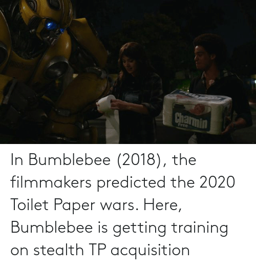 stealth: In Bumblebee (2018), the filmmakers predicted the 2020 Toilet Paper wars. Here, Bumblebee is getting training on stealth TP acquisition