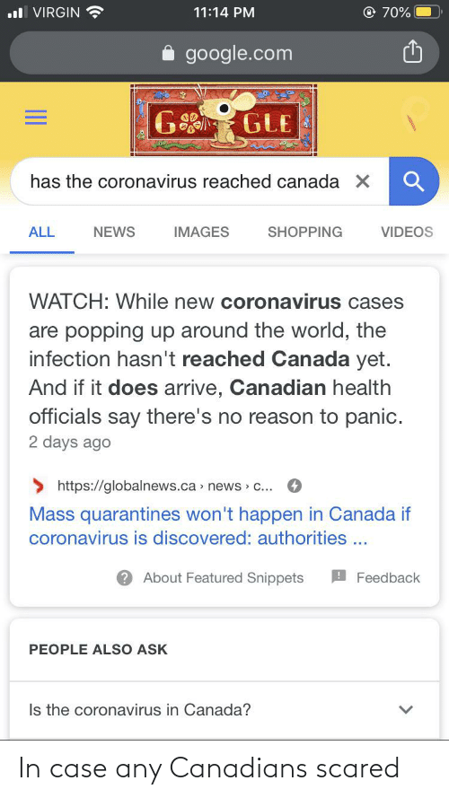 In Case: In case any Canadians scared