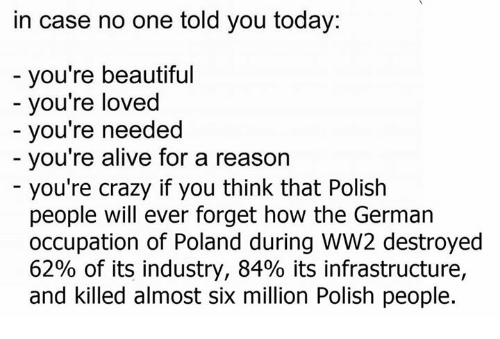 Polish People: in case no one told you today:  you're beautiful  you're loved  you're needed  you're alive for a reason  you're crazy if you think that Polish  people will ever forget how the German  occupation of Poland during WW2 destroyed  62% of its industry, 84% its infrastructure,  and killed almost six million Polish people.