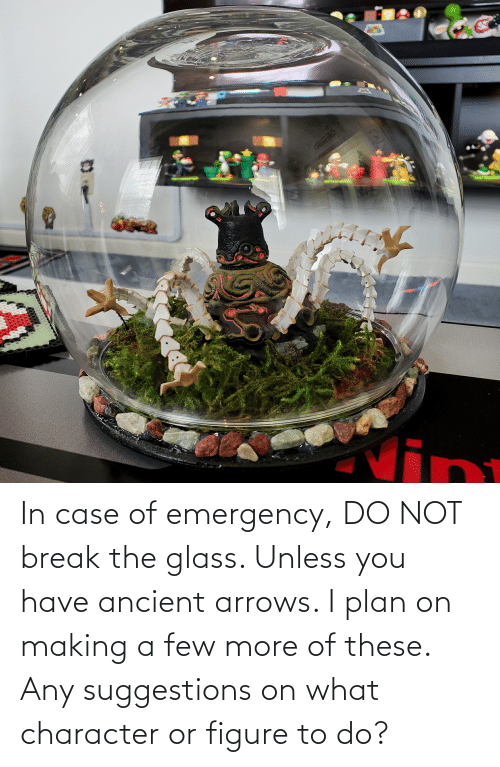 In Case: In case of emergency, DO NOT break the glass. Unless you have ancient arrows. I plan on making a few more of these. Any suggestions on what character or figure to do?