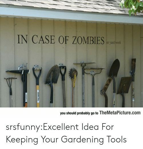 Gardening: IN CASE OF ZOMBIE  or yard  you should probably go to TheMetaPicture.com srsfunny:Excellent Idea For Keeping Your Gardening Tools