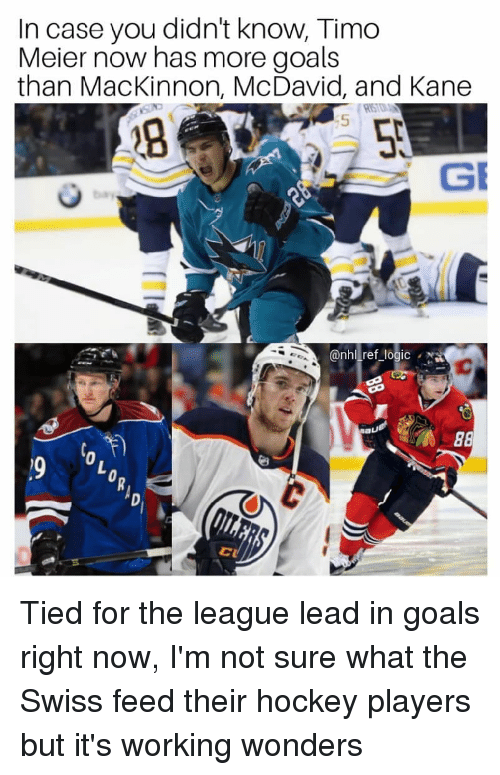 Goals, Hockey, and Logic: In case you didn't know, Timo  Meier now has more goals  than MacKinnon, McDavid, and Kane  5  @nhl ref_logic Tied for the league lead in goals right now, I'm not sure what the Swiss feed their hockey players but it's working wonders