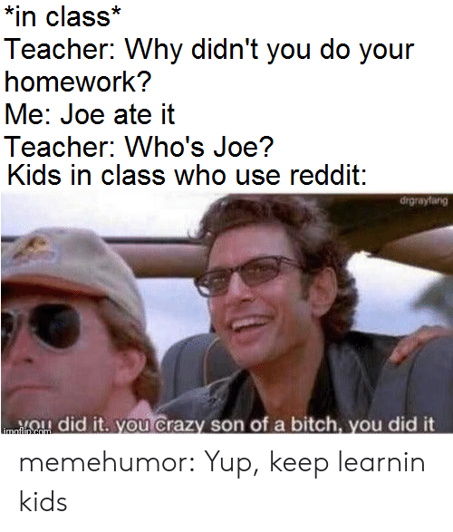 you did it: *in class*  Teacher: Why didn't you do your  homework?  Me: Joe ate it  Teacher: Who's Joe?  Kids in class who use reddit:  drgrayfang  ou Crazy son of a bitch, you did it  did  imaflin com memehumor:  Yup, keep learnin kids