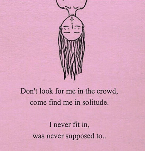 Solitude: In  Don't look for me in the crowd,  come find me in solitude.  I never fit in  was never supposed to.