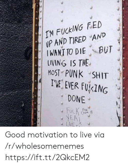 Fucking, Shit, and Fuck: IN FUCKING FED  UP AND TIRED AND  IWANT TO DIE BUT  LINING IS THE  MOST PUNK SHIT  I'VE EVER FUKING  DONE  FucK  YEA  LiVE  FroR  CAVA (8  K Good motivation to live via /r/wholesomememes https://ift.tt/2QkcEM2