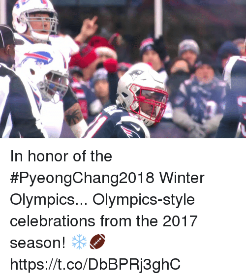 celebrations: In honor of the #PyeongChang2018 Winter Olympics...  Olympics-style celebrations from the 2017 season! ❄️🏈 https://t.co/DbBPRj3ghC