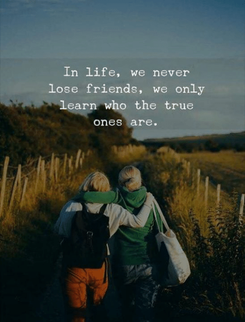 Never Lose: In life, we never  lose friends, we only  learn who the true  ones are.