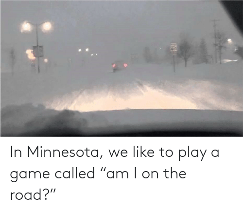 "A Game: In Minnesota, we like to play a game called ""am I on the road?"""
