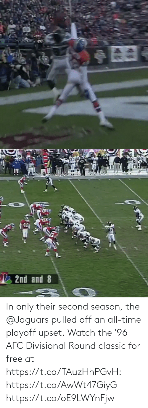 jaguars: In only their second season, the @Jaguars pulled off an all-time playoff upset.  Watch the '96 AFC Divisional Round classic for free at https://t.co/TAuzHhPGvH: https://t.co/AwWt47GiyG https://t.co/oE9LWYnFjw