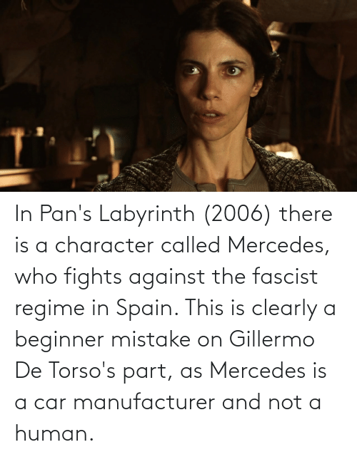 Labyrinth: In Pan's Labyrinth (2006) there is a character called Mercedes, who fights against the fascist regime in Spain. This is clearly a beginner mistake on Gillermo De Torso's part, as Mercedes is a car manufacturer and not a human.