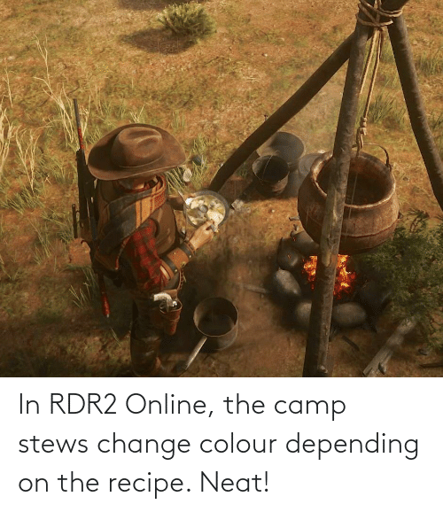 Rdr2: In RDR2 Online, the camp stews change colour depending on the recipe. Neat!