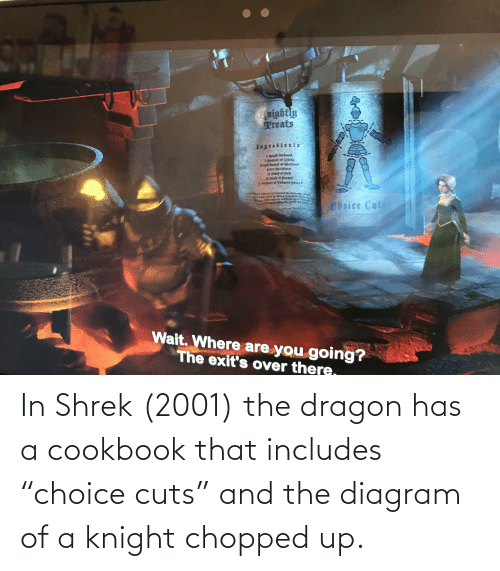 """chopped: In Shrek (2001) the dragon has a cookbook that includes """"choice cuts"""" and the diagram of a knight chopped up."""