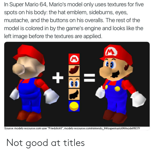 In Super Mario 64 Mario's Model Only Uses Textures for Five