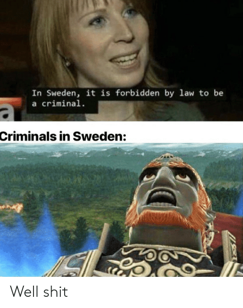 Criminals: In Sweden, it is forbidden by law to be  a criminal  Criminals in Sweden: Well shit