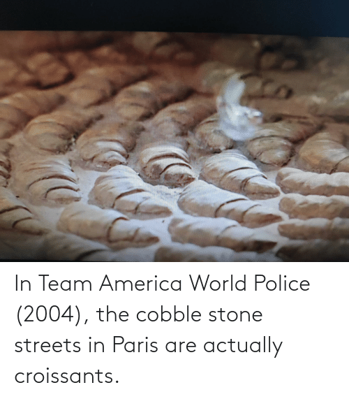 America World: In Team America World Police (2004), the cobble stone streets in Paris are actually croissants.