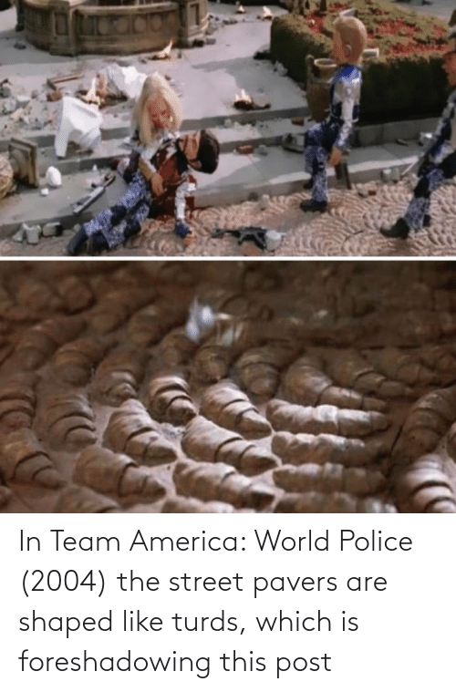 America World: In Team America: World Police (2004) the street pavers are shaped like turds, which is foreshadowing this post