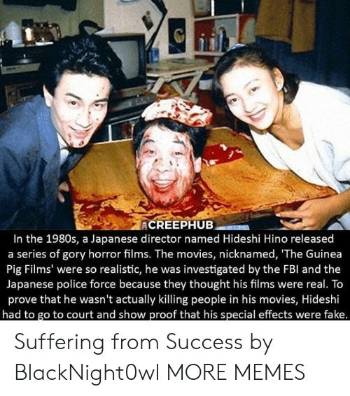 Fbl: In the 1980s, a Japanese director named Hideshi Hino released  a series of gory horror films. The movies, nicknamed, 'The Guinea  Pig Films' were so realistic, he was investigated by the FBl and the  Japanese police force because they thought his films were real. To  prove that he wasn't actually killing people in his movies, Hideshi  had to go to court and show proof that his special effects were fake. Suffering from Success by BlackNight0wl MORE MEMES