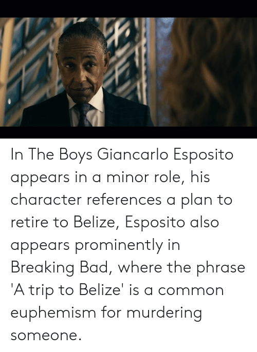 Euphemism: In The Boys Giancarlo Esposito appears in a minor role, his character references a plan to retire to Belize, Esposito also appears prominently in Breaking Bad, where the phrase 'A trip to Belize' is a common euphemism for murdering someone.
