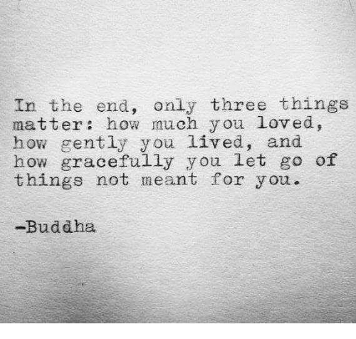 Buddha: In the end, only three things  matter how much y ou loved,  how gently you lived, and  how gracefully you let go of  things not meant for you.  -Buddha
