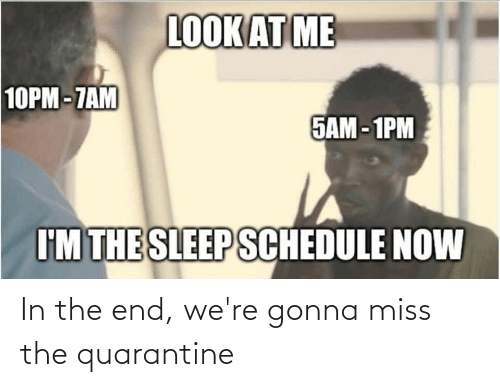 in the end: In the end, we're gonna miss the quarantine