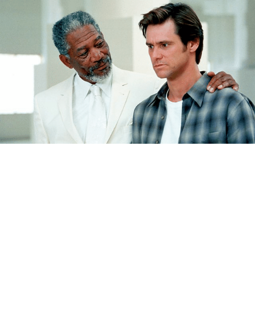 freeman: In the movie Bruce Almighty (2003) God appears in the form of Morgan Freeman but the movie Dogma (1999), which came out four years earlier, had already established that god looks like Alanis Morissette.