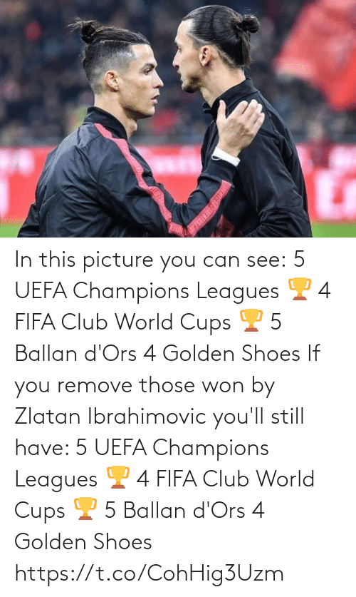 Golden: In this picture you can see:  5 UEFA Champions Leagues 🏆 4 FIFA Club World Cups 🏆 5 Ballan d'Ors 4 Golden Shoes   If you remove those won by Zlatan Ibrahimovic you'll still have:   5 UEFA Champions Leagues 🏆 4 FIFA Club World Cups 🏆 5 Ballan d'Ors 4 Golden Shoes https://t.co/CohHig3Uzm
