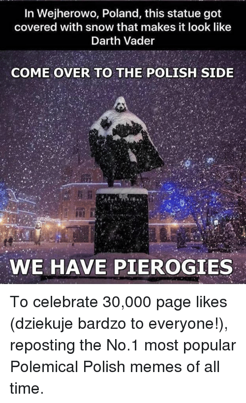 Polish Meme: In Wejherowo, Poland, this statue got  covered with snow that makes it look like  Darth Vader  COME OVER TO THE POLISH SIDE  WE HAVE PIEROGIES To celebrate 30,000 page likes (dziekuje bardzo to everyone!), reposting the No.1 most popular Polemical Polish memes  of all time.