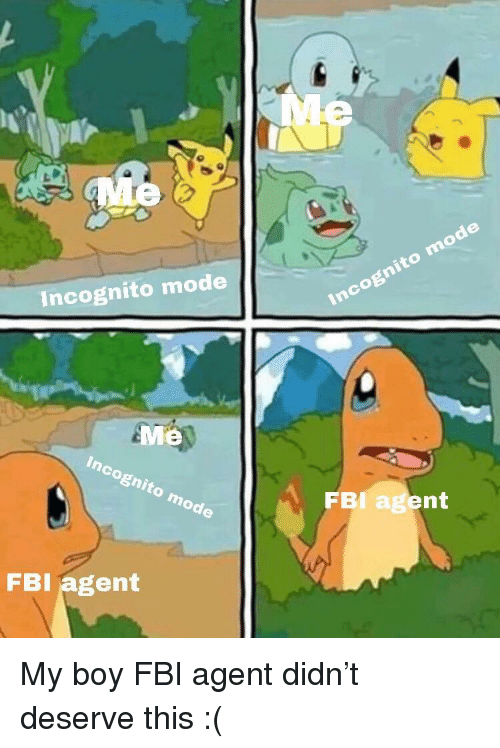Incognito Mode: Incognito mode  Me  FBI agent  FBI agent My boy FBI agent didn't deserve this :(