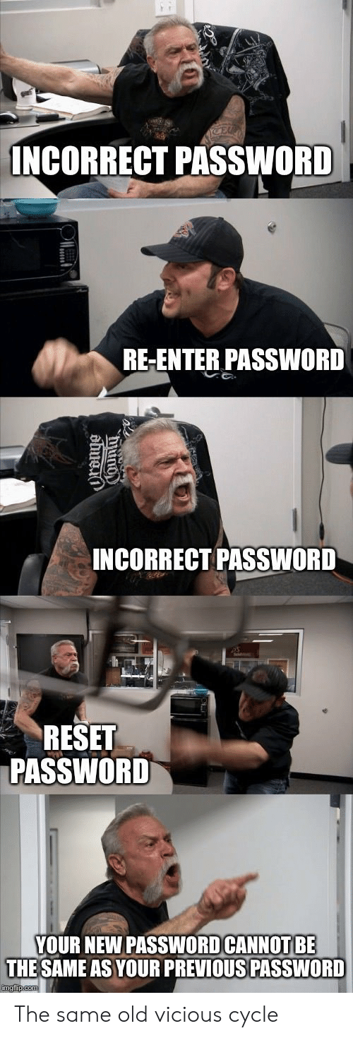 Vicious Cycle: INCORRECT PASSWORD  RE-ENTER PASSWORD  INCORRECT PASSWORD  RESET  PASSWORD  YOUR NEW PASSWOD CANNOT BE  THE SAME AS YOUR PREVIOUS PASSWORD The same old vicious cycle