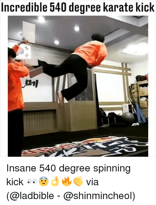 karate kick: Incredible 540 degree karate kick Insane 540 degree spinning kick 👀😨👌🔥👏 via (@ladbible - @shinmincheol)