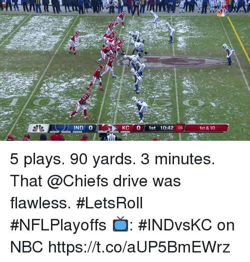 flawless: IND O  KC 0 1st 10:42 :05  1st &10 5 plays. 90 yards. 3 minutes.  That @Chiefs drive was flawless. #LetsRoll #NFLPlayoffs  📺: #INDvsKC on NBC https://t.co/aUP5BmEWrz