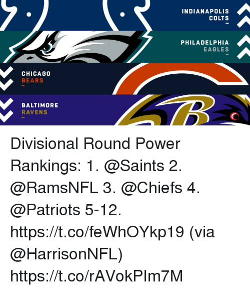 Baltimore Ravens: INDIANAPOLIS  COLTS  PHILADELPHIA  EAGLES  CHICAGO  BEARS  BALTIMORE  RAVENS Divisional Round Power Rankings:  1. @Saints 2. @RamsNFL 3. @Chiefs 4. @Patriots 5-12. https://t.co/feWhOYkp19 (via @HarrisonNFL) https://t.co/rAVokPIm7M